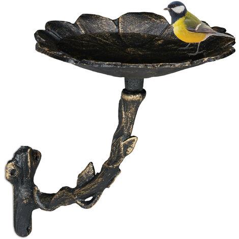 Abreuvoir en fonte sur pied, pétales ; décor jardin, montage mural, mangeoire, oiseaux sauvages, bronze