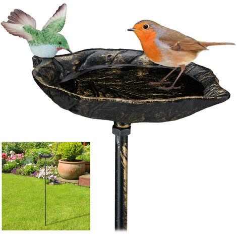 Abreuvoir pour oiseaux en fonte, avec pic de terre,Décoration pour jardin, Mangeoires, 1 m de hauteur, bronze