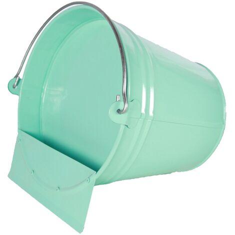 Abreuvoir seau métal finition epoxy vert d'eau 12L