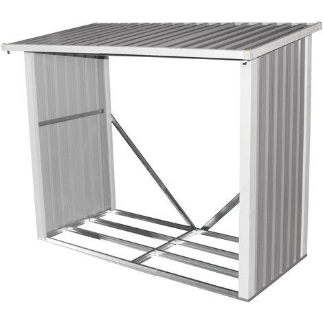 Abri à bûches pour le jardin - métal - 182 x 89 cm