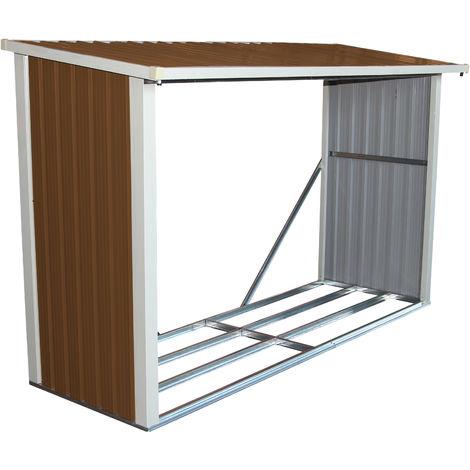 Abri à bûches pour le jardin - métal - 242 x 89 cm