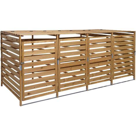 Abri à Poubelles, pour 4 ou 8 poubelles HHG-714, extensible 110x65x93 cm, bois massif ~ anthracite