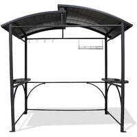 Abri barbecue 2,40X1,5m en aluminium et polycarbonate - GRIS ANTHRACITE