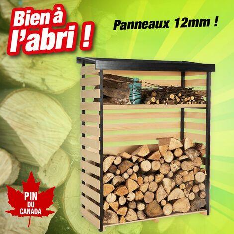 Abri bois pin du Canada pour mettre vos bûches à l'abri - H.1,52M, L.1,19M, P.53,5M