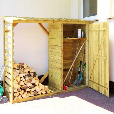 Abri-bûches avec rangement et plancher en bois Zurich