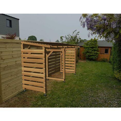 Abri bûches couvert en bois traité   Origine France   4m x 1.18m  Sans pieds de poteaux