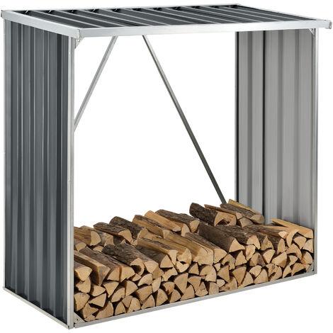 Abri-Bûches Couvert Solide Support pour Bois de Chauffage Robuste Range-Bûches pour Stockage Extérieur du Bois en Acier Galvanisé 156 x 80 x 152 cm Gris Anthracite