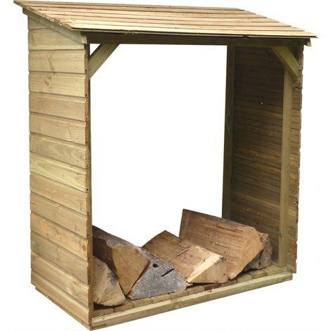 Abri bûches en bois avec plancher Tim 120 x 60 x 140 cm - Naturel