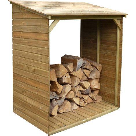 Abri bûches en bois avec plancher Tim 150 x 100 x 180 cm - Naturel