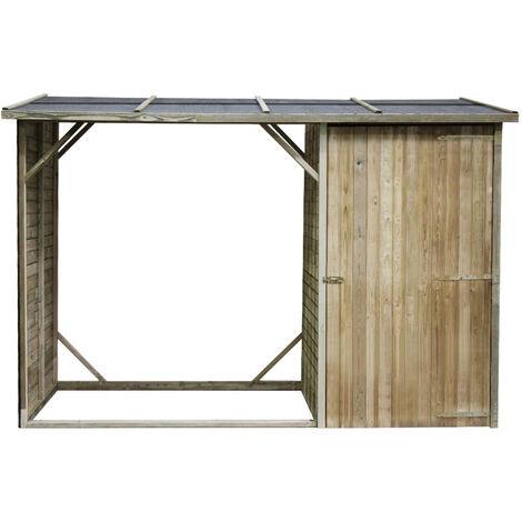 Abri bûches en bois Oslo avec rangement 4 stères