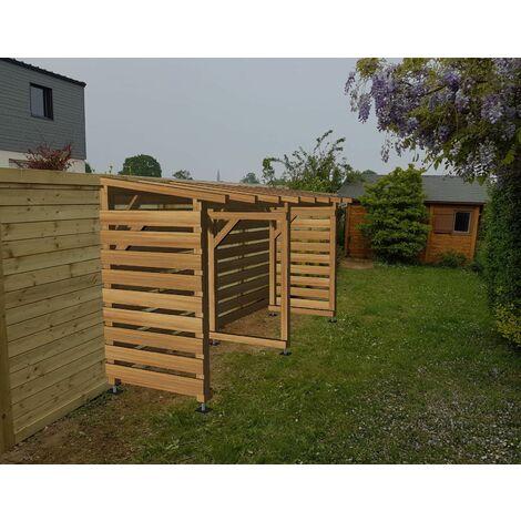Abri bûches en bois traité   Origine France   4m x 1.18m  Sans pieds de poteaux