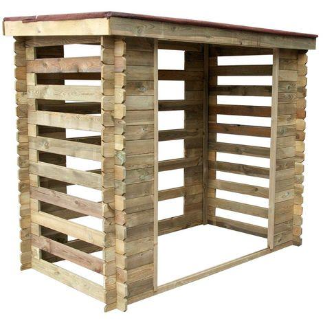 Abri bûches en bois Varsovie 3 stères avec toit bitumé