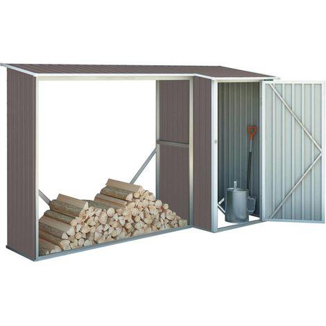 """Abri bûches métal """"Chicago"""" - 3.07 m² - 109 x 282 x 168 cm - Gris marronné"""