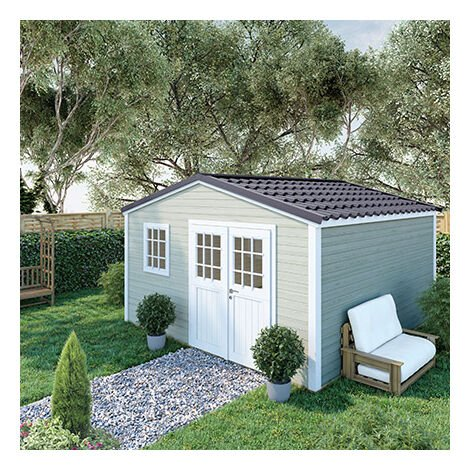 Abri de jardin 2 portes 15,60 m2 en madriers à emboiter - ONEGA