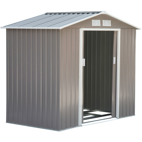 Abri de jardin 2,13L x 1,27l x 1,85H m fondation incluse porte coulissante ventilations tôle acier gris