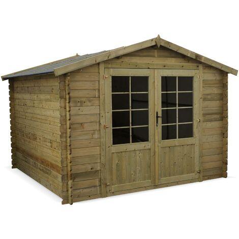 Abri de jardin 3 x 3 m traité autoclave classe 3 CHAMONIX en bois de 99 m² structure en madriers 28 mm sapin du nord