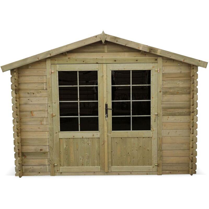 Abri de jardin 3 x 3 m traité autoclave classe 3, CHAMONIX en bois FSC de  9,9 m², structure en madriers 28 mm, sapin du nord