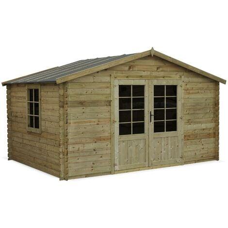 Abri de jardin 3 x 4 m traité autoclave classe 3, SERRE CHEVALIER en bois FSC de 12,9 m²