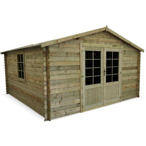 Abri de jardin 4x4m traité autoclave classe 3, MERIBEL bois FSC 17,2 m², structure madriers 28 mm