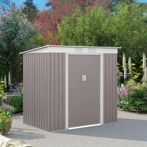 Abri de jardin ALPS en tôle d'acier galvanisé pré-peint gris résistant 201x121x176cm