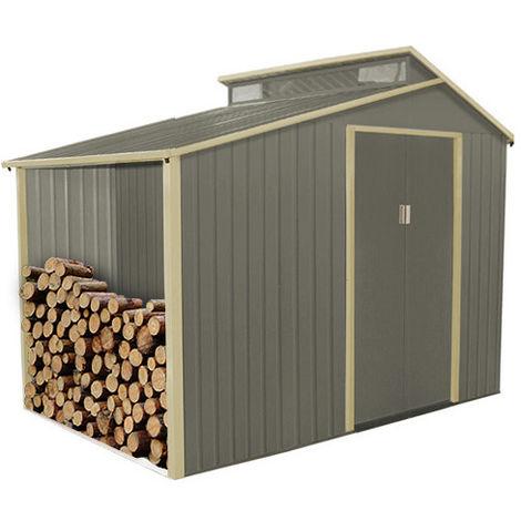 Abri de jardin avec bûcher en métal 3,14 m² + kit d'ancrage inclus