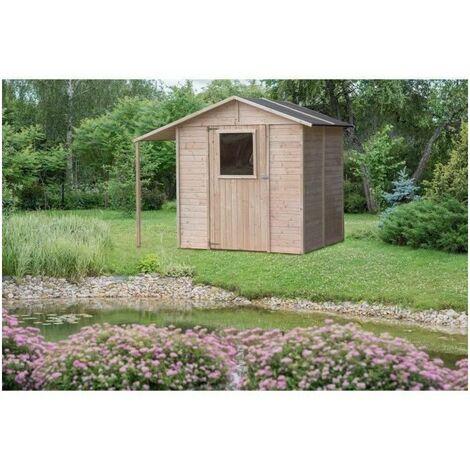 Abri de jardin bois + abri bûches - FSC - 4.21m²- L 235 x l 164 x H 200 cm