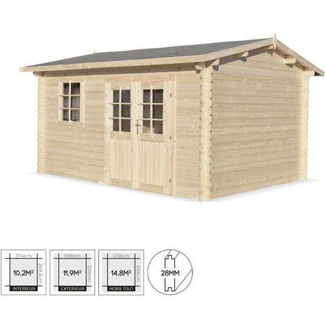 Abri de jardin classique PAIMPONT en bois FSC de 13,3 m², structure en madriers 28mm, sapin séché