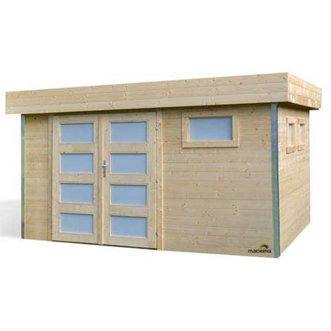 Abri de jardin COMFY 10,50m², toiture plate, madriers épaisseurs 28mm – 350 x 350 x H.220 cm - 10,50M²