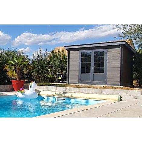 Abri de jardin composite 3x3 toit plat contemporain ...