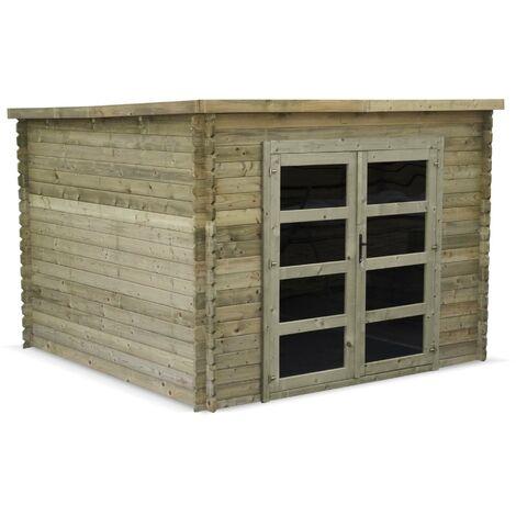 Abri de jardin contemporain 3 x 3 m traité autoclave classe 3, TIGNES en bois FSC de 9,3 m²