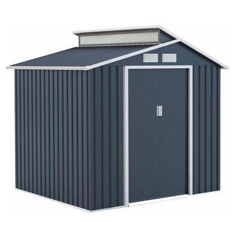 Abri de jardin en acier 4,25 m2 - Avec kit dancrage inclus - Gris anthracite