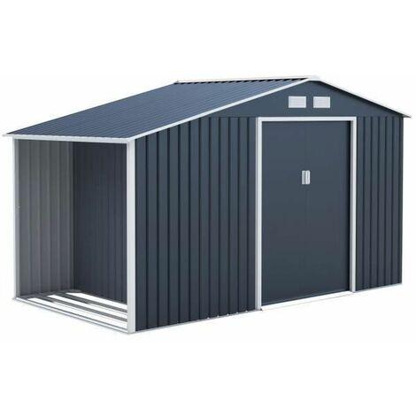 Abri de jardin en acier 6,53 m2 - Abris buches avec kit dancrage inclus - Gris anthracite