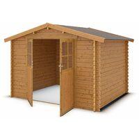 prix compétitif 8c018 5658f Abri de jardin en bois HONOS 7,4 m² - 28 mm traité teinté marron