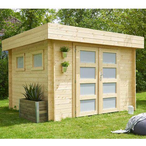 Abri de Jardin en Bois Kivik - Toiture Plate - Voliges 16mm Feutre Bitumé - Double Porte Vitrée - 2 Fenêtres Fixes en Plexiglass Opalin - Porte Serrure à Clé - 248x268xH.220cm/7.99m²