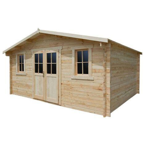 Abri de jardin en bois massif 16m² PLUS - madriers 28mm Gardy Shelter
