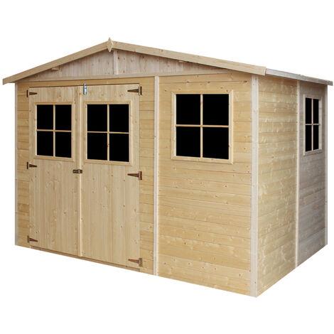 """main image of """"Abri de Jardin en Bois Naturel - Stockage extérieur avec fenêtres- H226x318x220 cm/6 m² hangar en bois naturel - Atelier rangement outils et vélos- Timbela M334"""""""