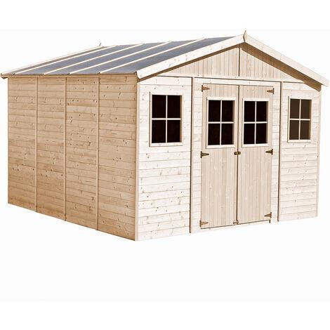 """main image of """"Abri de Jardin en Bois Naturel - Stockage extérieur avec fenêtres- H246 x 418 x 420 cm/ 16 m²- hangar en bois naturel - Atelier rangement outils et vélos- TIMBELA M330"""""""