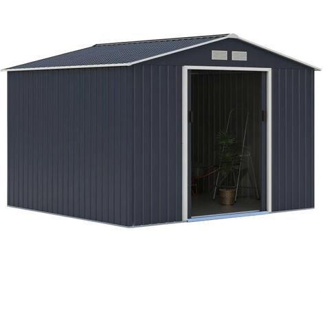 Abri de jardin en métal 7,06m² - 2 portes coulissantes - Gris anthracite