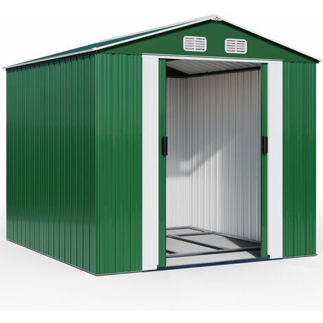 Abri de jardin en métal anthracite - 14,65 m³ - Cabane/Remise de jardin - Rangement vélos/outils - Gris