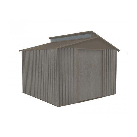 Abri de jardin en métal aspect BOIS VIEILLI® - 7,25 m²