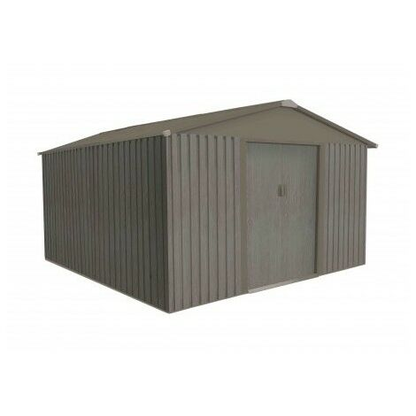Abri de jardin en métal aspect BOIS VIEILLI® - 9,66 m²