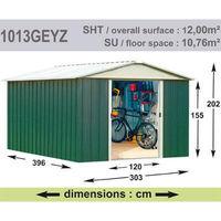 Abri de Jardin en Métal galvanisé - GEYZ - 12 m² : Longueur 3 m, largeur 4 m, hauteur 2 m