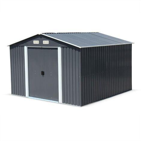 Abri de jardin en métal - HOUTLAND 9 m² anthracite - Cabane à outils avec deux grandes portes coulissantes, kit de fixation sol inclus, maison de rangement, remise