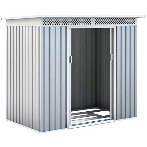 Abri de Jardin en Métal Kingston - 3 m² Ext. 142x213x184 cm Acier Galvanisé Silver/Blanc