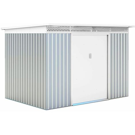 Abri de Jardin en Métal London - 5,71 m² Ext. 206x277x187 cm Acier Galvanisé Silver/Blanc
