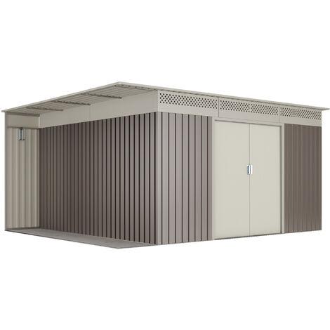 Abri de jardin en métal marron/beige jusqu'à 13,22 m2 - Garantie 10 ans