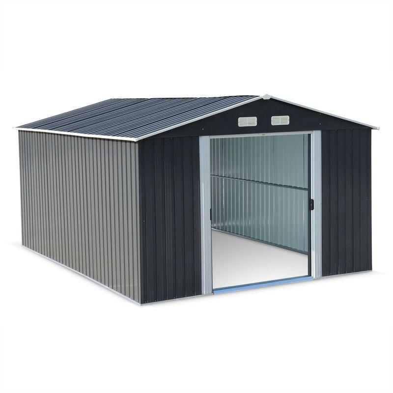 Abri De Jardin En Metal Melantois 12 M Anthracite Cabane A Outils Avec Deux Grandes Portes Coulissantes Kit De Fixation Sol