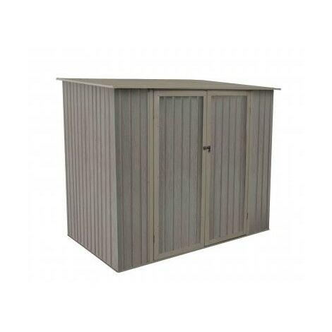 Abri de jardin en métal monopente aspect BOIS VIEILLI® - 3,3 m²