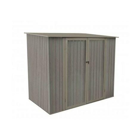 Abri de jardin en métal monopente aspect BOIS VIEILLI® - 3,3 m² - Bois vieilli