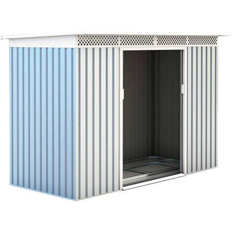 Abri de Jardin en Métal Rutland - 3,93 m² Ext. 142x277x184 cm Acier Galvanisé Silver/Blanc
